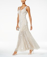 Adrianna Papell Beaded Illusion Tulle Gown Silver