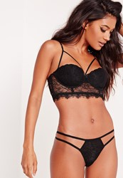 Missguided Strap Detail Lace Thong Black Black