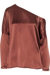 Tibi Asymmetric Silk Satin Top Brown