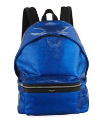 Saint Laurent City Cracked Metallic Leather Backpack Blue