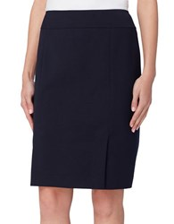 Tahari By Arthur S. Levine Double Vent Solid Skirt Navy
