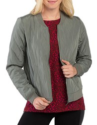 Kensie Quilted Bomber Jacket Green