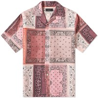 Amiri Short Sleeve Reconstructed Silk Bandana Shirt Pink