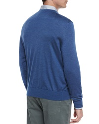 Ermenegildo Zegna Cashmere Blend V Neck Sweater Purple