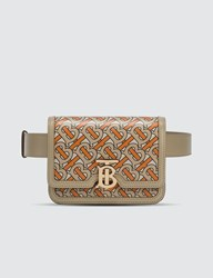 Burberry Belted Monogram Print Leather Tb Bag Beige