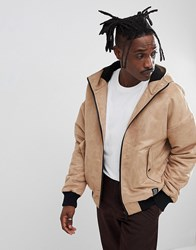 Your Turn Yourturn Borg Lined Faux Suede Bomber Jacket In Stone