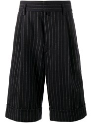 Dries Van Noten Pinstripe Knee Length Shorts Blue