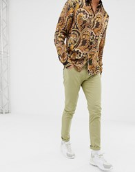 Love Moschino Skinny Fit Chinos With Back Pocket Plaque Beige