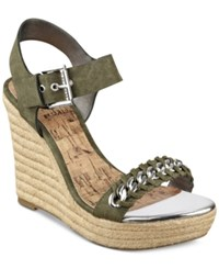 G By Guess Women's Elliot Platform Wedge Sandals Women's Shoes Olive