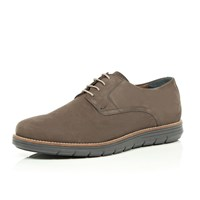 River Island Mens Grey Nubuck Leather Wedge Sole Shoes