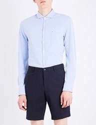 Boss Orange Slim Fit Cotton Shirt Open Blue