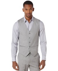 Perry Ellis Big And Tall Textured Vest Brushed Nickel