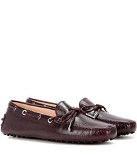 Tod's Heaven Laccetto Embossed Leather Loafers Red