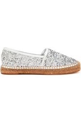 Dolce And Gabbana Sequined Leather Espadrilles Silver