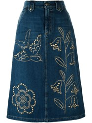 Red Valentino Embellished Denim Midi Skirt Blue