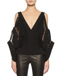 Tom Ford Laser Cut Cold Shoulder Top Black