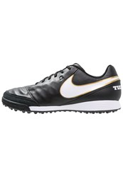 Nike Performance Tiempo Genio Ii Tf Astro Turf Trainers Black White Metallic Gold