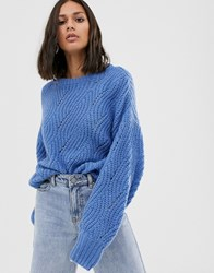 Native Youth Pointelle Jumper In Wool Blend Blue
