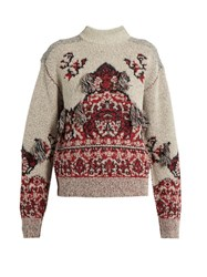 Toga Rug Jacquard High Neck Sweater Grey Multi