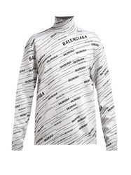 Balenciaga Logo Jacquard Wool Blend Sweater White Black