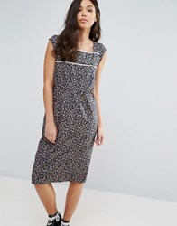 Trollied Dolly Peace Out Pom Pom Trim Dress Navy Floral