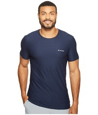 Columbia Diamond Mesh Crew Neck Tee Single Dress Blue Men's T Shirt Navy
