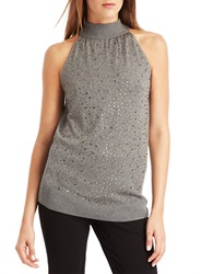 Kenneth Cole Addison Rhinestone Embellished Sweater Grey Melange