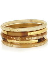 Ashley Pittman Nuru Set Of Five Horn And Gold Tone Bangles