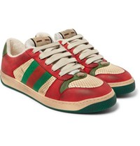 Gucci Virtus Distressed Leather And Webbing Sneakers Red