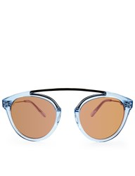 Westward Leaning Blue Ice Flower 13 Sunglasses Rose Gold