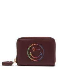 Anya Hindmarch Rainbow Wink Leather Compact Wallet Burgundy Multi