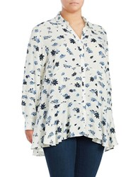Chelsea And Theodore Plus Peplum Floral Blouse White Blue