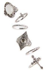 Topshop Women's Heat 6 Pack Rings Silver