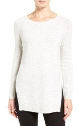 Nordstrom Women's Collection Side Slit Cashmere Sweater Light Heather Grey Multi