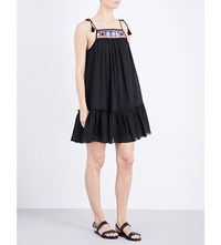 Seafolly Floral Embroidered Cotton Dress Black
