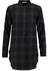 Helmut Lang Checked Wool And Cashmere Blend Flannel Shirt Blue
