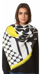 Franco Ferrari Graphic Dots Scarf Black White Yellow Red Blue