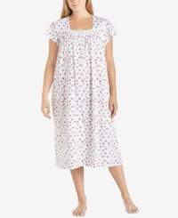 Eileen West Plus Size Printed Cotton Knit Ballet Length Nightgown Pink Floral