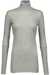 Enza Costa Cotton And Cashmere Blend Turtleneck Sweater Stone