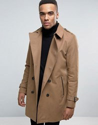Asos Double Breasted Trench Coat With Shower Resistance In Tobacco Tobacco Navy