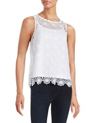 Kensie Floral Lace Overlay Tank Top White