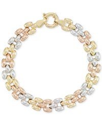 Macy's Tri Tone Link Bracelet In 14K Yellow White And Rose Gold Tri Tone