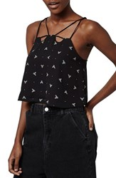 Women's Topshop Bee Print Strappy Crop Camisole Black