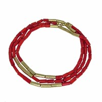 Plumeria Exclusive London Coral And Gold Tubes Long Necklace Red