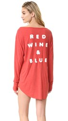 Wildfox Couture Red Wine And Blue Sleep In Shirt India