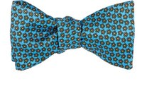 Barneys New York Men's Floral Silk Twill Bow Tie Light Blue
