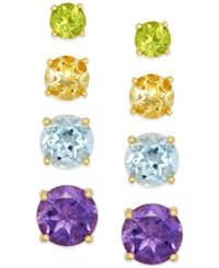 Victoria Townsend Multi Stone Stud Earring Set In 18K Gold Over Sterling Silver 5 9 10 Ct. T.W.