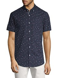 Report Collection Boat And Anchor Print Cotton Button Down Shirt Navy