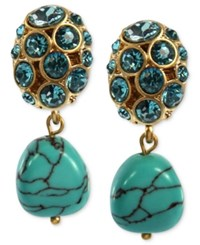 Jones New York Earrings Worn Gold Tone Turquoise Bead Double Drop Clip On Earrings