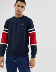 Hymn Quilted Sweatshirt With Panel Sleeve Navy